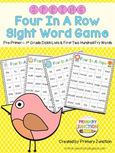FREE Spring Four-in-a-Row Sight Word Game