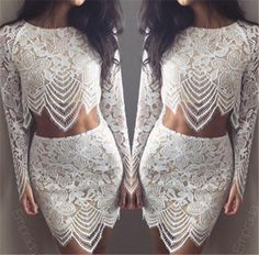 Women two piece outfits For love and lemons bodycon dress Sexy club party dress 2015 black White lace dress Casual