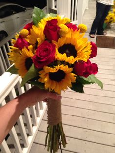 Sunflower and red rose bouquet (my bouquet)