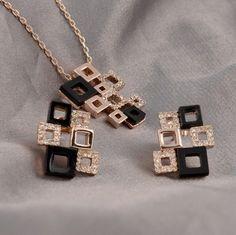 Női szett, Swarovski Elements, nyaklánc és fülbevaló  BOKACHA - fekete fehérrel