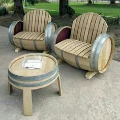 Chairs out of wine barrels! I want!