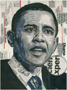 "Political Magazine Collages - Seth Balliett is a seasoned veteran of torn-paper portraits. One of his latest works is ""Words of Hope."" This collage is entirely compr. Political Posters, Political Art, Magazine Collage, Magazine Art, Collages, Collage Art, Aragon, Obama Portrait, Art Rooms"