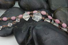 Short necklace pink white minimalist necklace classic necklace fine necklace strand bead necklace jewelry bead necklace link chain necklace