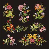 Vektor Blumenornamente im russischen Stil — Stockvektor