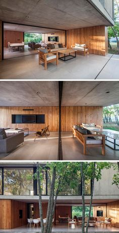 The Bottom Floor Of This Concrete And Wood House Is Almost Completely Open To The Outside The interior concrete ceiling and wood wall of this modern house, extends to provide shade and protection for the outdoor living room and alfresco dining area. Concrete Interiors, Wood Interiors, Apartment Interior Design, Modern Interior Design, Woodworking At Home, Concrete Ceiling, Concrete Wood, Wood Facade, Beton Design