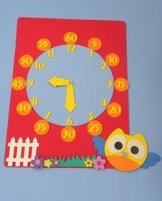 relógio para ensinar as horas e minutos Coruja www.petilola.com.br