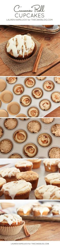 Cinnamon Roll Cupcakes swirled with cinnamon and brown sugar, topped with streusel and a drizzle of glaze. | by Lauren Kapeluck for https://TheCakeBlog.com
