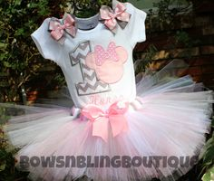 First Birthday Outfit Chevron Minnie Mouse by BowsNBlingBoutique, $52.99