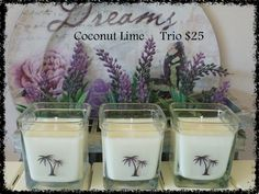 Coconut Lime Trio Candle Set These gorgeous jars have been filled with the delicious Coconut Lime fragrance and finished with a Coconut Palm labels.   I have only one of these sets available for $25. Head over to my Facebook business page and send me a PM to arrange your order.