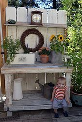 Fall Potting Bench With My Little Pumpkin