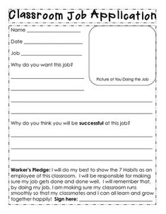 We use the Leader In Me program at my school and I work on building leadership and responsibility through my class jobs system.  Students need to apply for the jobs they want, though I will select who gets the job based on who turns in applications first and/or drawing from a hat.