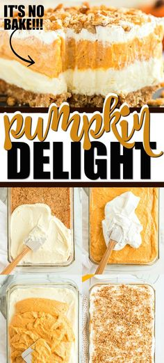 Instead of pumpkin pie, try this easy pumpkin delight recipe instead! A homemade pecan and graham cracker mix forms a delicious crust that is topped with three layers of light and fluffy filling -- including cream cheese, pumpkin, pudding and Cool Whip. Pudding Desserts, Köstliche Desserts, Delicious Desserts, Dessert Recipes, Baked Pumpkin, Pumpkin Recipes, Pumpkin Pie Cheesecake, Cream Cheese Pumpkin Pie, Pumpkin Delight