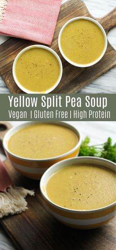 Split Pea Soup is a healthy dinner recipe with tons of plant-based protein. It's vegan, glute - Rezeptideen -Yellow Split Pea Soup is a healthy dinner recipe with tons of plant-based protein. It's vegan, glute - Rezeptideen - Yellow Split Pea Recipe, Yellow Split Pea Soup, Split Pea Soup Recipe, Yellow Pea Soup Recipe, Recipe For Pea Soup, Pea Recipes, Healthy Soup Recipes, Vegetarian Recipes, Cooking Recipes