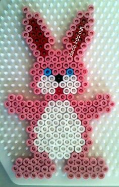 Easter bunny hama perler beads by deco. Melty Bead Patterns, Pearler Bead Patterns, Perler Patterns, Beading Patterns, Hama Beads Design, Diy Perler Beads, Perler Bead Art, Pixel Art Lapin, Hama Beads Animals