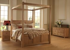Inspired by the fresh coastal look of New England, everything about the four-poster Vermont bed works in harmony to create a blissful sanctuary of calm. Handmade Bedroom Furniture, Dining Room Furniture Design, Solid Wood Bedroom Furniture, Bed Furniture, Four Poster Bed, Poster Beds, Solid Oak Beds, Beds Uk, Large Bedroom
