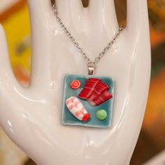 Sushi on Blue Plate Handmade Necklace.