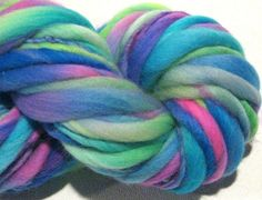 Handspun Yarn bulky thick n thin Hodgepodge 60 yds green pink purple blue yarn hand dyed merino wool waldorf doll hair knitting supplies by SpinningWheelStudio on Etsy https://www.etsy.com/listing/190629251/handspun-yarn-bulky-thick-n-thin