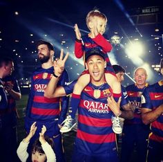 Celebrating with his son..