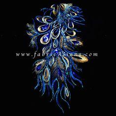 Applique plume de paon bleu et dore. Dentelle brodé LA100025 : Déco, Customisation Textile par fabricasians