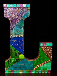 Mosaic Letter Initial by wonderlandmosaics on Etsy