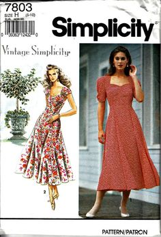 1990s Garden Party Dress Pattern Vintage SIMPLICITY 7803  1992 Retro Dress Pattern Sweetheart Neckline Uncut Factory Folded  Bust 30.5 -32.5