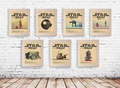 The Star Wars Poster Set Features All Seven Episodes - Picturesor Instagram Selfies, Star Wars Zimmer, Cuadros Diy, Star Wars Bedroom, Star Wars Painting, Star Wars Set, Star Wars Prints, Unique Poster, Minimal Movie Posters