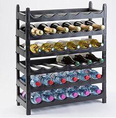 Cave à vin, Porte bouteilles, casier, Range-bouteilles,36 bouteilles: Étagères à bouteilles empilables en plastique noir, très pratique…