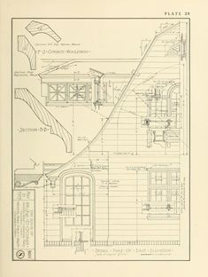 Architecture Drawing Plan, Amazing Architecture, Architecture Details, Architecture Illustrations, Architectural Section, Architectural Sketches, Vintage House Plans, Exterior Trim, Hand Sketch