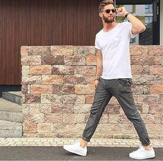 White tee x grey pants
