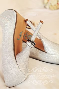 "Fabulous wedding shoes, ""I Do"" stickers on the bottom, and the rings on the heel of the stiletto - fabulous!"