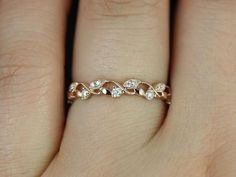 Rosados Box Daphine Rose Gold Thin Weaving Leaves DIamonds Berries Halfway Eternity Band
