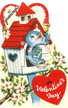 Vintage Valentine Card Showing a Bluebird in a Birdhouse
