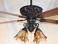 New ORB oil rubbed bronze ceiling fan with 4 light amber hand blown glass MD Ceiling Fan Chandelier, Bronze Ceiling Fan, Ceiling Lights, Chandeliers, Ceiling Fan Direction, Antique Ceiling Fans, Ceiling Fan Makeover, Bronze Pendant Light, Classic Ceiling