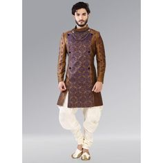 Buy Cbazaar Golden Indowestern Patiala Style Sherwani online in India at best price. Golden benarasi indowestern sherwani with fancy collar and block foliage patterns all over the sherw Mens Indian Wear, Mens Ethnic Wear, Indian Groom Wear, Indian Men Fashion, Indian Attire, Indian Outfits, Indian Male, Groom Fashion, Ethnic Fashion