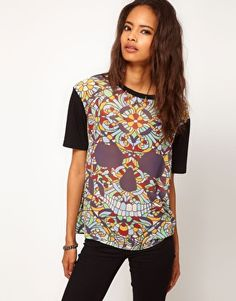 ASOS Top with Skull in Stain Glass Woven Front, n diz too