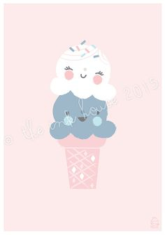 A4 ICE CREAM PRINT ice-cream Illustration art print by TheInkHouse