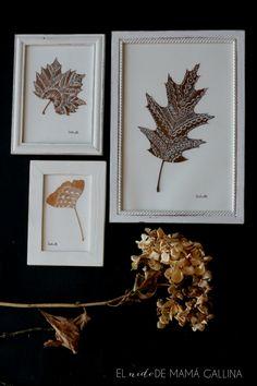 DIY: Cuadro con hojas secas pintadas