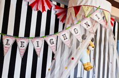 Circus Pennants {Miss Party Mom's} Client Circus Dessert Table