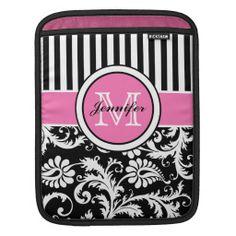 Damasco floral listrado cor-de-rosa, preto, branco. Personalizável