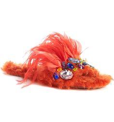 Main Image - Miu Miu Jewel & Feather Faux Fur Sandal (Women)