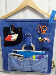 Denim Organizer for Crafts Made from Repurposed Jeans