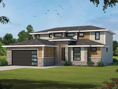 031H-0472: Two-Story Contemporary House Plan Contemporary Style Homes, Contemporary House Plans, Contemporary Bathrooms, Contemporary Design, Two Story House Plans, Best House Plans, Floor Plan Drawing, 4 Bedroom House Plans, Design Basics