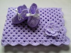 Crochet Baby Blanket and Baby Booties Set Gift Baby Christening Baptism Baby Lilac Afghan Flower