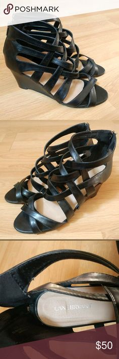 Lane Bryant Strappy High Heel Black Wedges 11 WIDE Lane Bryant Strappy High Heel Black Wedges  Women's Shoe Size 11 Wide  GOOD Pre-Owned Condition: PLEASE REVIEW PHOTOS they are a part of my description  Smoke Free Home. Lane Bryant Shoes Wedges