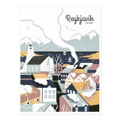 Reykjavik, Iceland Vintage Travel Poster - Love this, the retro illustration look is perfect, your traveler friends will surely appreciate it (and I would too)! Pub Vintage, Vintage Stuff, Iceland Travel, Vintage Travel Posters, Retro Posters, Custom Posters, Poster Prints, Poster Poster, Art Print