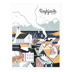 Reykjavik, Iceland, Vintage Travel Postcard