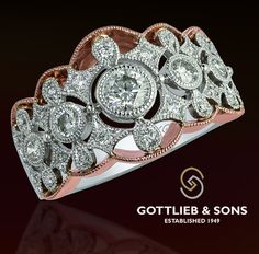 Brilliant #Vintage inspired rose and white gold diamond ring with open milgrain details. Visit your local #GottliebandSons retailer and ask for style number 29582B. http://www.gottlieb-sons.com/product/detail/29582B