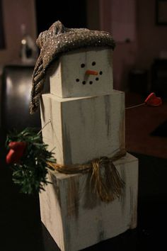 Traditional Wooden Snowman - This is cute! And handmade by a friend!