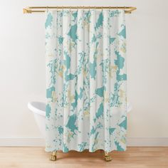 Designs, Teal, Leaves, Curtains, Shower, Abstract, Prints, Muted Colors, Pastel