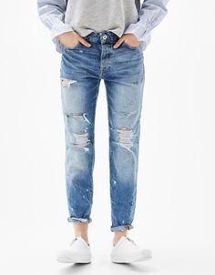 Slim Boyfriend jeans with rips - Clothes - Bershka Croatia